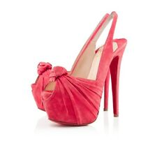 Christian Louboutin Miss Benin Suede Knotted Platform Heels NWB Retails $1145