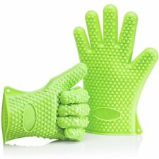 uHome®  BBQ Grill Gloves Silicone Heat Resistant Five-Fingered Grip 1 Pair