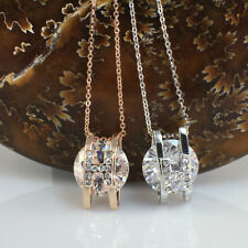 Letter H with 12mm Swarovski Crystals Pendant/Necklace,Silver Toned/Rose Gold GP
