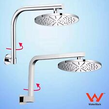"Swivel Gooseneck Wall Arm & WELS Rainfall 8"" Brass Round Shower Head Chrome Set"
