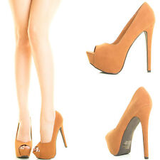 Tan Peep Open Toe High Stiletto Heel Hidden Platform Womens Classic Pump Sandal