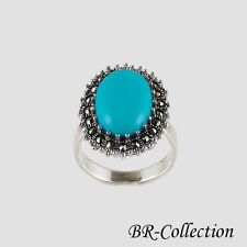 Sterling Silver Ring with Blue Turquoise or Onyx with Swiss Marcasite