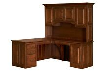 Amish Traditional Corner Computer Desk Hutch Home Office Solid Wood Oak Maple