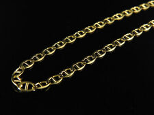 Men's 10K Solid Yellow Gold 3MM Flat Mariner Link Style Chain 16-26 Inches
