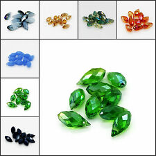 10pcs High Quality Faceted Glass Crystal Teardrop Beads 6x12mm