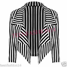 WOMENS LADIES BLACK & WHITE STRIPED 3/4 SLEEVE CROP WATERFALL BLAZER JACKET COAT