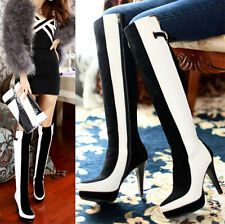 Size 5-9 Women's Cow Leather Knee High Platform Boots Slim High Heel Party Pumps