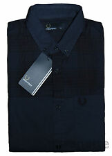 FRED PERRY Long Sleeve Mens Shirt Tartan Check Panel Navy Logo on Pocket  BNWT