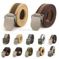 Hot Adjustable Mens Slider Buckle Military Style Long Weave Canvas Web Belt B99