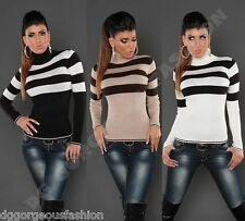 Jumper Sweater Turtleneck Striped Ladies Womens Top Long Sleeve One size 8 10 12