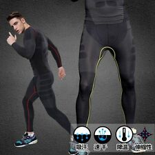 Men's Fitness Leggings Compression GYM Training Skin Base Layer Long Tight Pants
