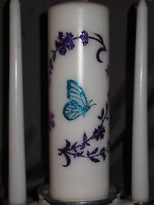 Butterflies Spring Floral Flower White Wedding Unity Candle Set Plus Tapers