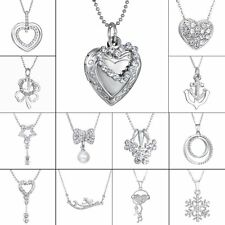 Womens Fashion Love Heart Cross Crystal Silver Chain Necklace & Pendant Jewelry