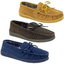 Mens Leather Slippers Real Suede Warm Winter Slip On Loafers Moccasins Shoes Siz