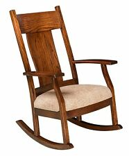Amish Handcrafted Solid Wood Rocking Chair Rocker Upholstered Steam Bent Back