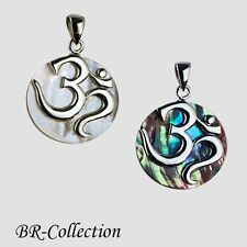 OM l  AUM Pendant Made with 925 Sterling Silver and Abalone or Natural Shell