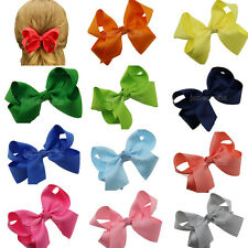 "12x 4.5"" Girls Baby Grosgrain Ribbon Chunky Hair Bow Aligator Clips Headband Lot"