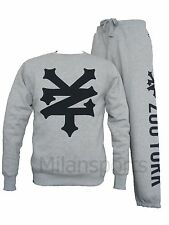 ZOO YORK MENS MACAN TRACKSUIT CREW NECK TOP AND JOGGING BOTTOMS TRACKPANTS GREY