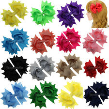 "12x 4.5"" Boutique Spike Big Hair Bows Aligator Clips Grosgrain Ribbon Baby Girls"