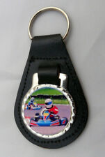 GO KARTING KARTS LEATHER KEY FOB Keyring Gift Choice of Colours NEW