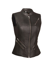 FMC Ladies Black Leather Fitted Motorcycle Scooter Biker Vest The Fairmont XS-5X