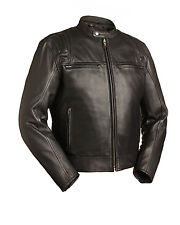 "FMC Mens Black Leather Scooter Motorcycle Biker Jacket  FIM241CCBZ ""CARBON"""