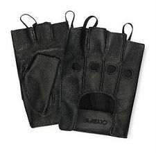 Olympia 407 Fingerless Men's Black Leather Motorcycle Gel Gloves