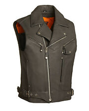 "FMC Mens Black Leather Motorcycle Biker Utility Vest w Gun Pockets ""Outlaw"" S-5X"