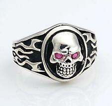 NEW Made in U.S.A. Sterling Silver Biker Skull Ring w/ Red Stone Eyes sz 10-11.5