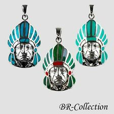 Sterling Silver Indian Chief Head Pendant with Turquoise or Malachite & Shell
