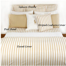 RALPH LAUREN - CLUB STRIPE TAN PILLOW CASE SHAMS 100% COTTON OVER 50% OFF RRP X