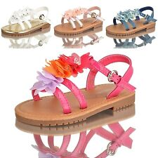 NEW GIRLS KIDS PRETTY FLOWER SUMMER FLAT SANDALS WHITE MULTI SIZES 4-11