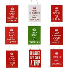 Shabby Chic Christmas Wooden Keep Calm Hanging Plaque Decoration Novelty Xmas