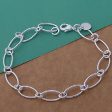 Womens 925 Sterling Silver Plated Big Chain Links Bracelet/Bangle/Anklet/8 inch