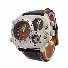 OULM Military Army Dual Time Zones Movements Quartz Watch Leather Sports Men's