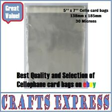 """5"""" x 7"""" Clear Cellophane Display Bags For Greeting Cards, Self Seal, Cello Bags"""