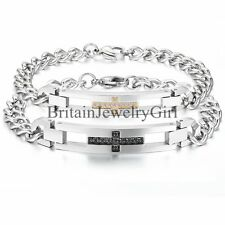 Stainless Steel Classic Religious Cross W/CZ Mens Womens Chain Bangle Bracelet
