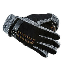 Men Winter Warm Leather Gloves Driving Motorcycle Thermal Thicken Mitten Outdoor