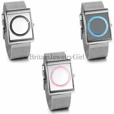 New Fashion Square Black Blue Pink Face Mens Womens Web Strap Wrist Watch