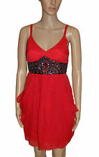 NEW! Red Floaty Sparkly Jewels Empire Line Party Knee Length Dress Size 12