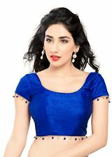 Elegant Royal Blue Ready-made Silk Saree Blouse Choli Sari Indian Crop Top