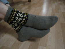 Wool hand knitted hunter socks, eco 100% wool mens wool socks ski gray socks