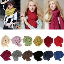 Long Solid Ladies Women Cotton Wrinkle Linen Scarf Wrap Shawl Candy Color G4L3