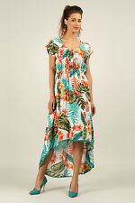 Kushi / Anmol Floaty Hi-Low Tropical Print Maxi Dress GREEN / ORANGE Sz 10 to 16