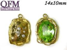 2 pcs Brass Bezel cup oval 14x10mm one loop & 4 prongs available in 4 finishes