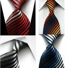 100% Silk Men's Striped Neck Tie Jacquard Woven Formal Meeting Suit Necktie V4