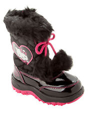 GIRLS OFFICIAL HELLO KITTY BLACK FAUX FUR WINTER SNOW BOOTS WITH SIDE ZIP 6-12