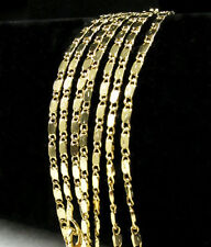 Wholesale Lots 1/5pcs 18k Yellow Gold Plated Flat Chain 2mm Necklace 16''-24''