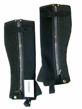 HALF CHAPS HORSE RIDING EQUESTRIAN BLACK AMARA WASHABLE WITH DIAMONTE ZIP