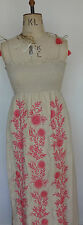 Juicy Couture Maxi Hippie Silk Dress Pink Embroidery - Size Petit Medium & Large